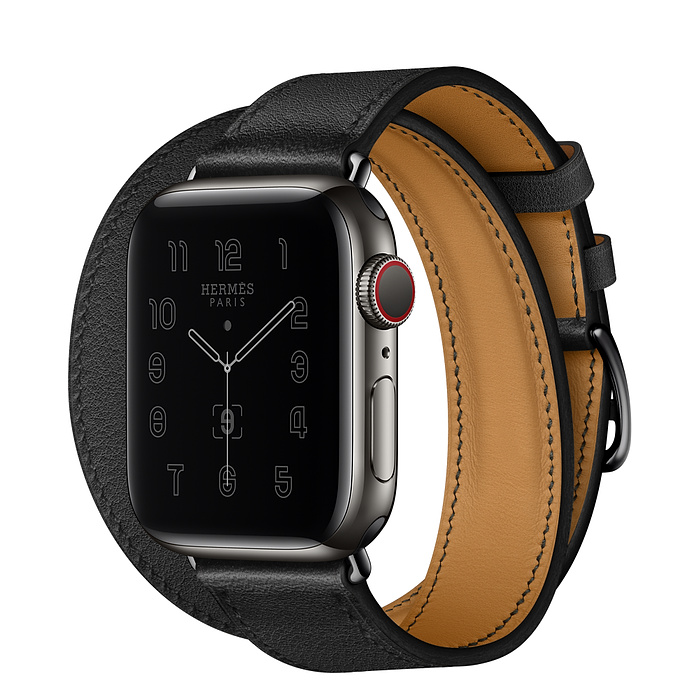Apple Watch Hermes Series 6 40mm Space Black Stainless Steel GPS + Cellular Noir Leather with Double Tour