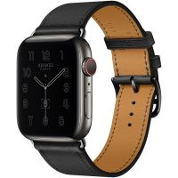 Apple Watch Hermes Series 6 44mm Space Black Stainless Steel GPS + Cellular Noir Leather with Single Tour