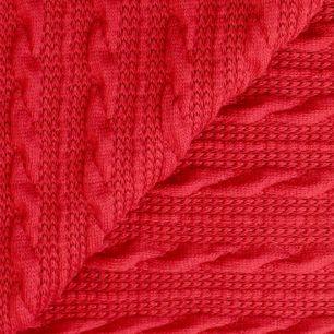 Трикотаж вязаный - Ажурные косы красные 50х40