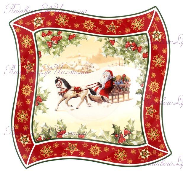 "Блюдо новогоднее квадратное Санта на коне ""Lefard"""