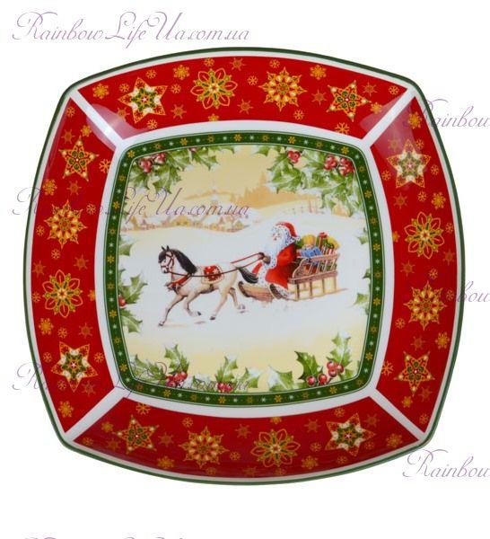 "Салатник новогодний Санта на коне квадратный ""Lefard"""