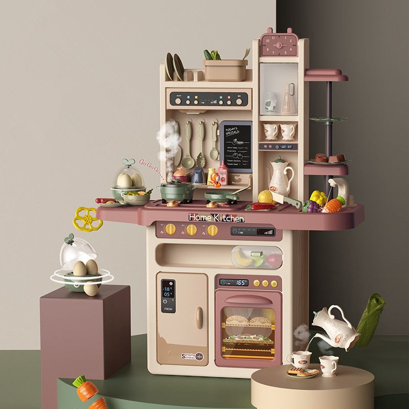 889-212 Детская игровая интерактивная кухня с водой, с паром, 65 аксессуаров, высота 93,5 см
