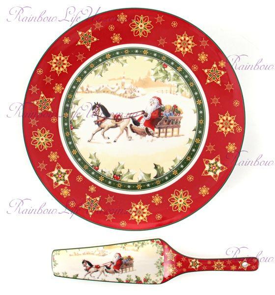 "Блюдо с лопаткой новогоднее Санта на санях ""Lefard"""