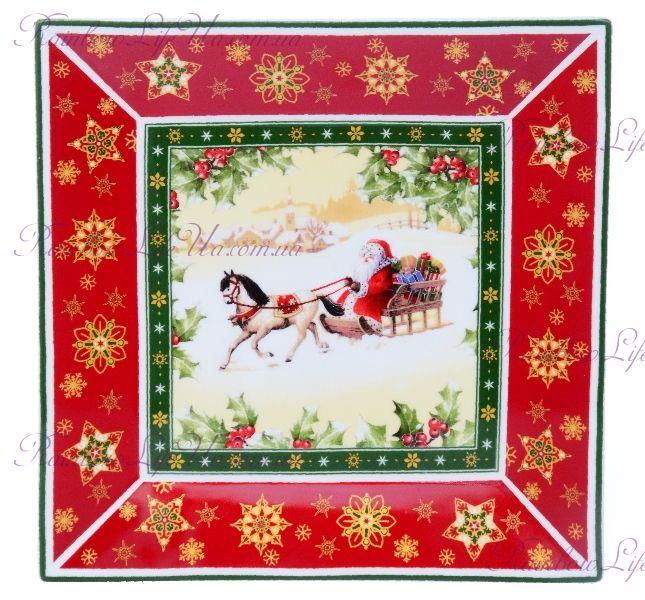 """Блюдо квадратное новогоднее Санта на санях """"Lefard"""""""