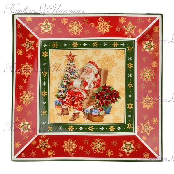 "Блюдо квадратное новогоднее Санта ""Lefard"""