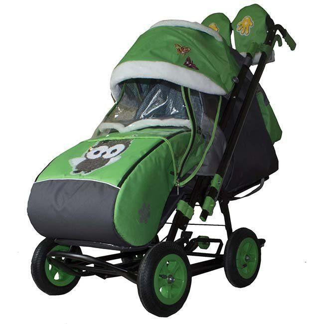 Санки-коляска Galaxy citi 1-1 Зелёные совушки