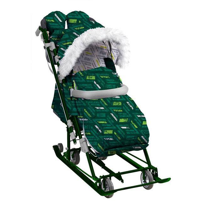 Санки-коляска НД7-8S/2 спортивный зеленый Nika