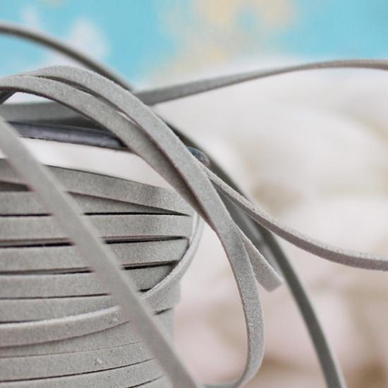 Шнур из искусственной замши -  Серый