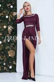 Бордовое платье в пол с разрезом