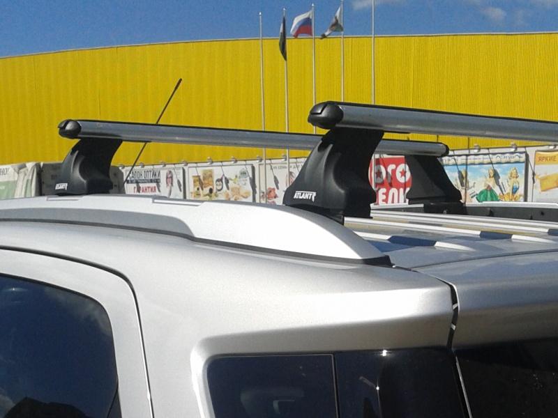 Багажник на крышу Ford Ecosport с интегрированными рейлингами, Атлант, аэродинамические дуги