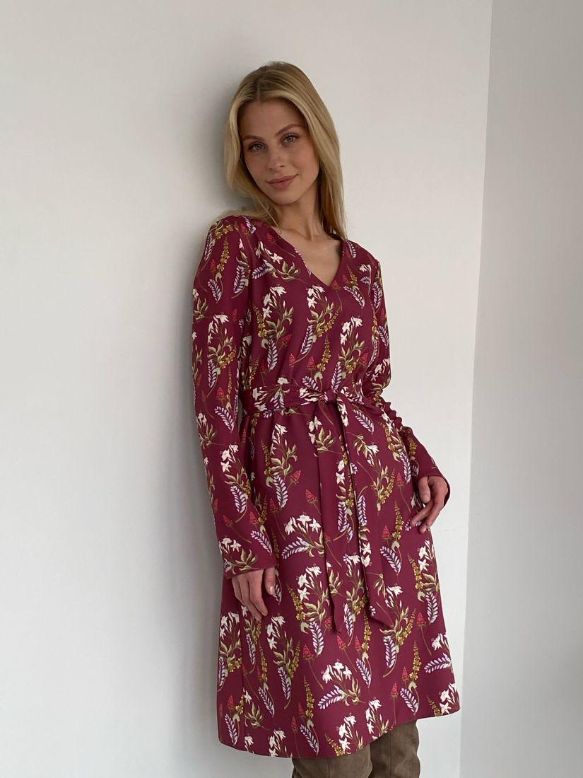 2738 Платье бордовое с флористичным дизайном