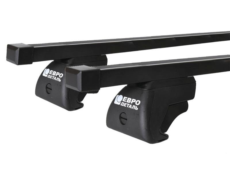 Багажник на крышу - стальные прямоугольные дуги на рейлинги Ford Explorer 2011-15, Евродеталь