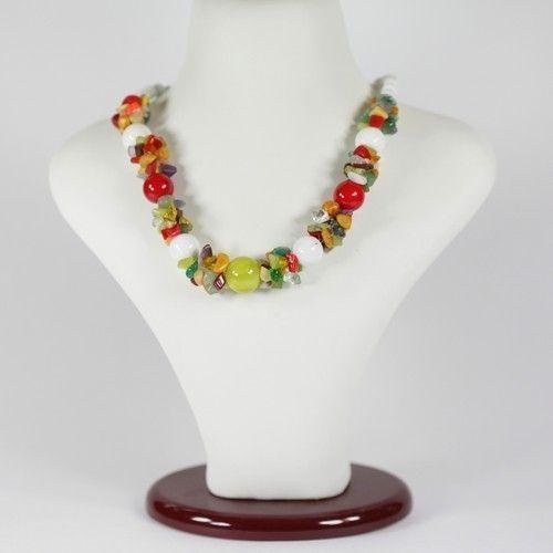 Ожерелье - Карамель - из самоцветов (оникс, коралл, агат)
