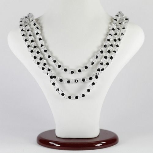 Ожерелье - Романс - из горного хрусталя и агата черного