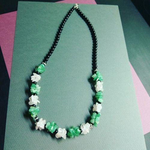 Ожерелье - Жаклин - из авантюрина и кварца розового