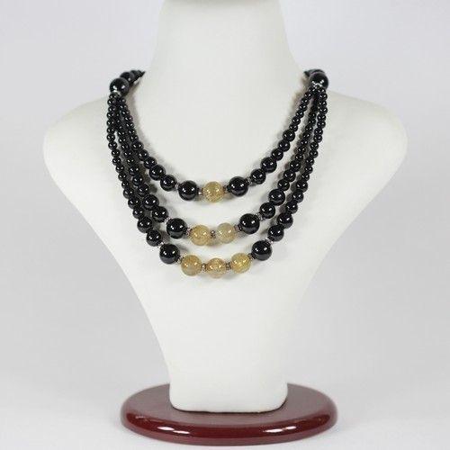 Ожерелье - Одетта - из волосатика (волосы Венеры) и агата черного (тройная нить)