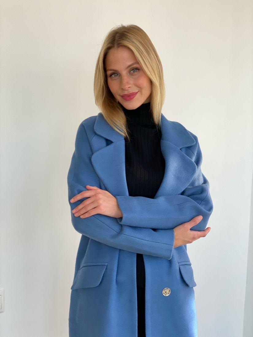 s2740 Пальто new cocoon голубое
