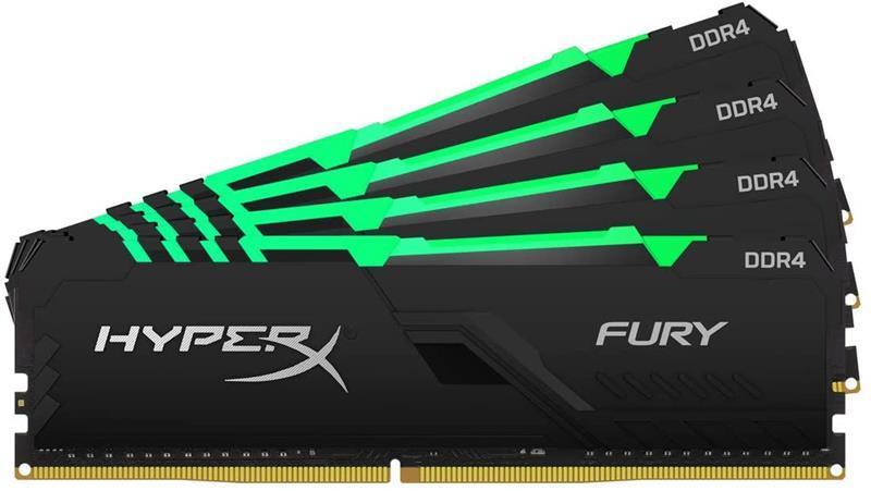 Модуль памяти DDR4 4x32GB/3600 Kingston HyperX Fury RGB (HX436C18FB3AK4/128)