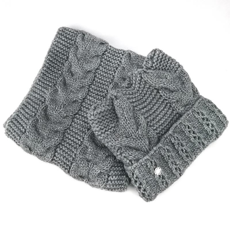 зд1202-57 Комплект вязаный шапка/снуд толстая вязка Сириус темно-серый