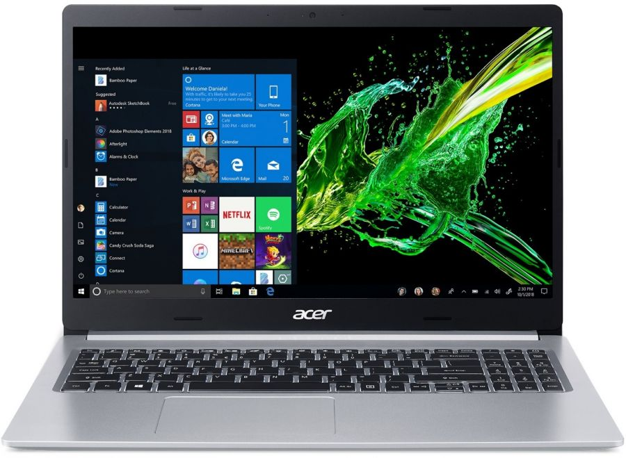 "Ноутбук Acer Aspire 5 A515-54G (NX.HVGEU.006); 15.6"" FullHD (1920x1080) IPS LED матовый / Intel Core i5-10210U (1.6 - 4.2 ГГц) / RAM 8 ГБ / SSD 512 ГБ / nVidia GeForce MX350, 2 ГБ / нет ОП / LAN / Wi-Fi / BT / веб-камера / Linux / 1.9 кг / серебристы"