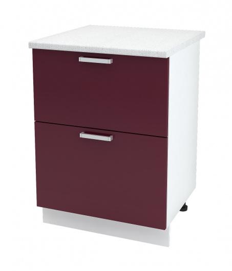 Шкаф нижний с двумя ящиками Глория ШН2Я 600