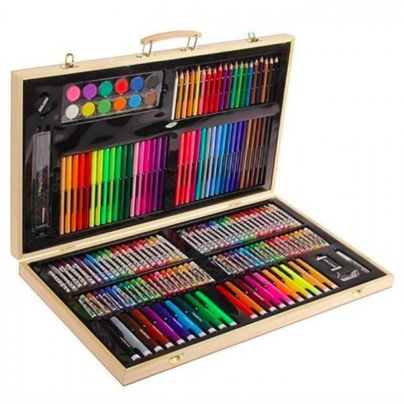 Художественный набор в деревянном чемоданчике, 180 предметов