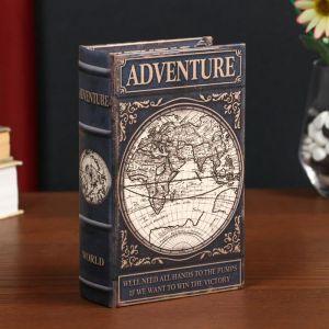 "Сейф-книга дерево кожзам ""Приключения. Карта"" 17х11х5 см   4822212"