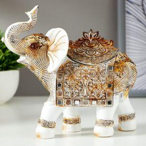 """Сувенир полистоун шкатулка """"Белый слон с попоной из арабского ковра"""" 17,5х17,5х6,3 см   5127038"""