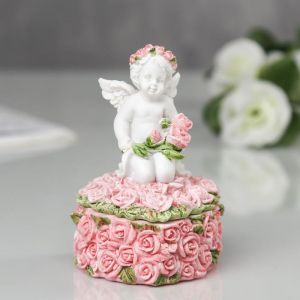 """Шкатулка полистоун """"Ангелочек в розах"""" 9,8х6х5,5 см 2467797"""