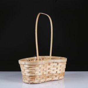 Корзина плетёная, бамбук, натуральный цвет, с изгибом