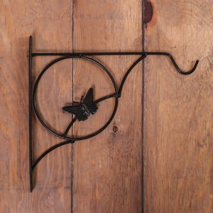 Кронштейн для кашпо, кованный, 30 см, металл, чёрный, «Бабочка»