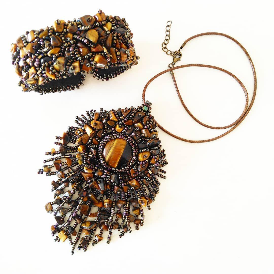 Комплект украшений «Диковинка» с тигровым глазом. Кулон и браслет.