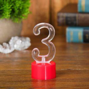 Свеча светодиодная «Цифра 3», цвета МИКС
