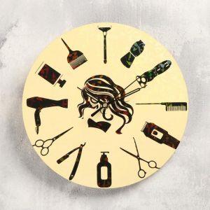"""Часы настенные """"Для парикмахерской"""", d-23.5. плавный ход 5233989"""