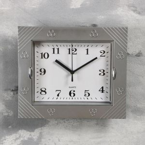 """Часы настенные, серия: Классика, """"Волна"""", хромированные, 22х26 см 1195106"""