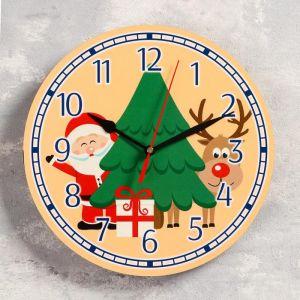 """Часы настенные, серия: Новый год, """"Дед мороз"""", d=24 см, плавный ход 5307585"""