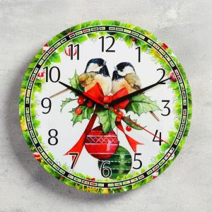 """Часы настенные, серия: Новый год, """"Синицы"""", d=24 см, плавный ход 5307580"""