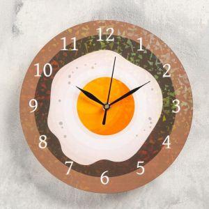 """Часы настенные """"Яичница"""", d- 23.5. плавный ход 5234000"""