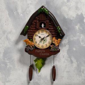 "Часы настенные с кукушкой ""Белочки"", 4 шт 3ААА, плавный ход, 53х7х35 см, коричневые   5183575"