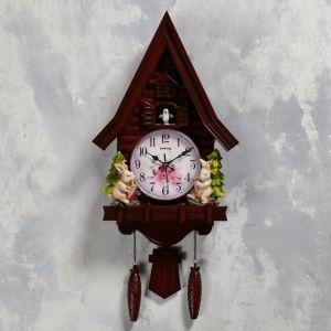 "Часы настенные с кукушкой ""Зайчики"", 2 шт 3 АА, 2 шт R14, плавный ход, 62х8х32 см   5183576"