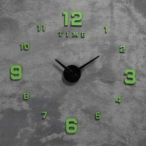 Часы-наклейка светящиеся, стрелки 22,5 см, 16.5 см, 1АА, плавный ход   5200580