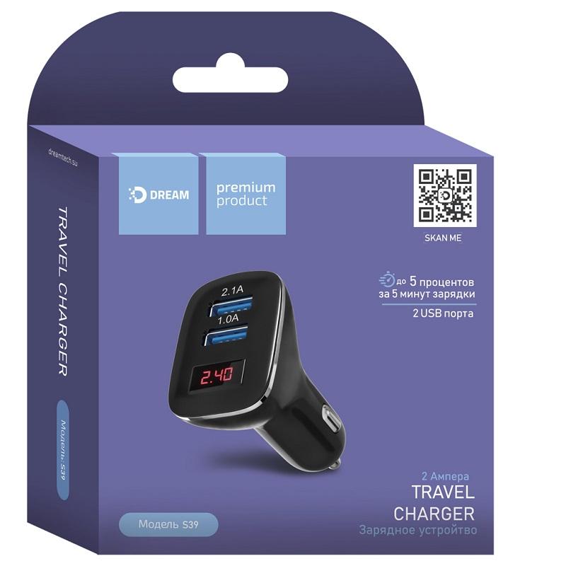 Автомобильное зарядное устройство 2 USB 2.1A