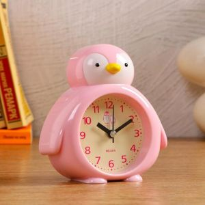 """Часы настольные детские """"Пингвин"""", розовый, дискретный ход, d=7 см, 1 АА   5169364"""