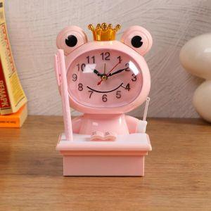 """Часы-будильник детские """"Царевна-Лягушка"""",с подсветкой, с ручкой, 1АА, дискретный ход, розов. 5169372"""