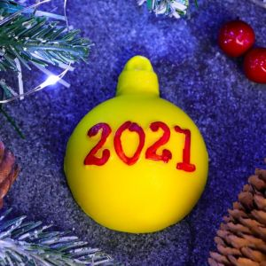 "Мыло фигурное ""Шар 2021"" жёлтый 2D, 45гр. 5220912"