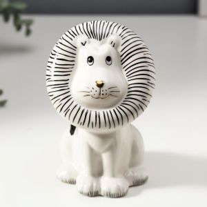 "Сувенир керамика ""Львёнок"" белый с чёрным 13,8х8,3х8,8 см   4847489"