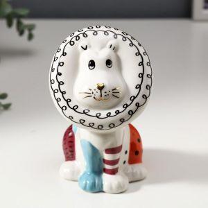 """Сувенир керамика """"Львёнок"""" цветные пятнышки 13,8х8,3х8,8 см   4847490"""
