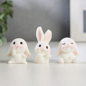 "Сувенир пластик ""Белый кролик"" МИКС 3х3х1,8 см   5115796"