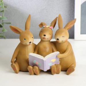 """Сувенир полистоун """"Зайчата читают книжку"""" 12х13,7х7,5 см   5185361"""