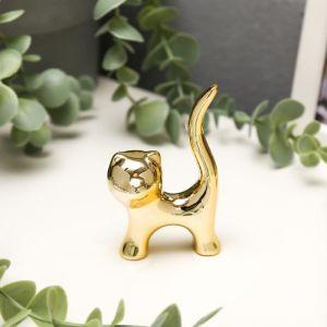 "Сувенир керамика ""Котик, хвост трубой"" золото 8,4х4,9х2,5 см   5070178"